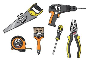 Cartoon diy tools characters
