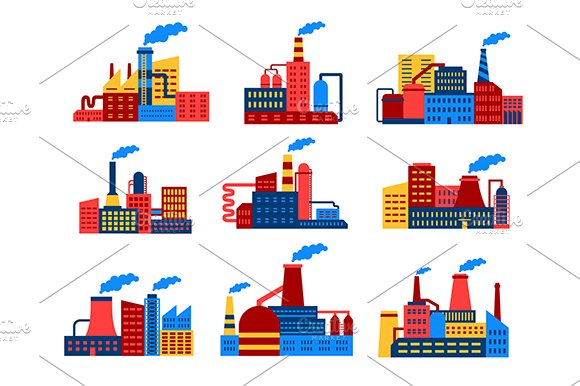 Industrial buildings flat icons