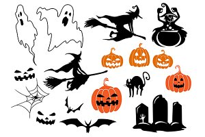 Halloween themed design elements and