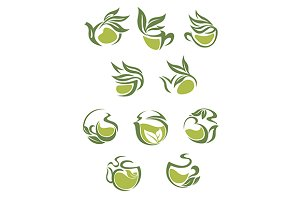 Green tea dish and cup icons set
