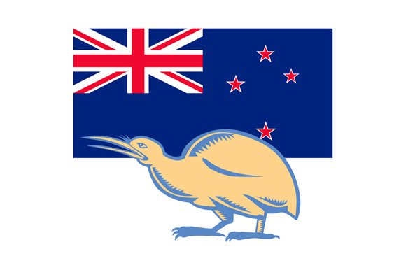 Kiwi bird nz flag woodcut illustrations creative market kiwi bird nz flag woodcut illustrations sciox Choice Image
