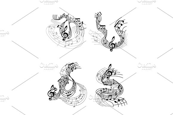 Musical compositions with music wave in Graphics