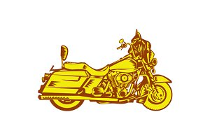 Motorcycle Motorbike Woodcut
