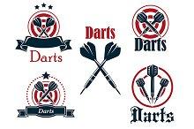 Darts icons, emblems or symbols