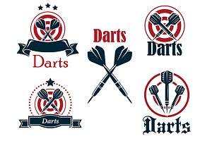 Darts icons, emblems or symbols