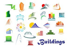 Office and apartments buildings icon