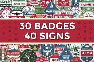 30 Vector Logos Badges & 40 Signs