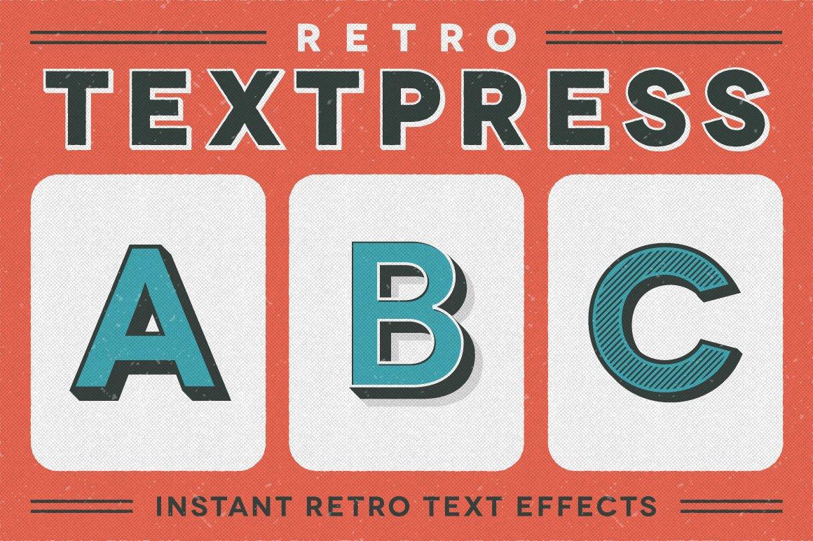 retro textpress illustrator styles layer styles creative market. Black Bedroom Furniture Sets. Home Design Ideas
