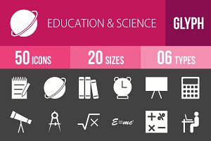 50 Education Glyph Inverted Icons