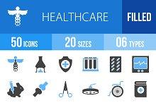50 Healthcare Blue & Black Icons