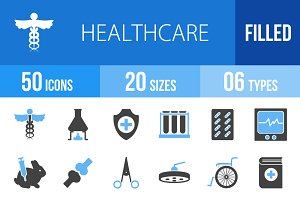 50 Healthcare Blue & Black Icons