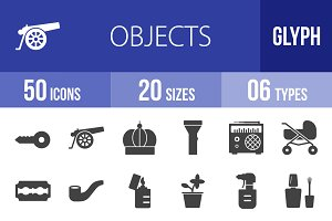 50 Objects Glyph Icons