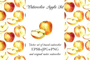 Watercolor apple set