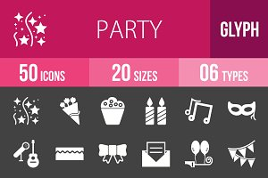 50 Party Glyph Inverted Icons