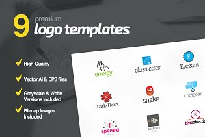 9 Premium Logo Templates Bundle