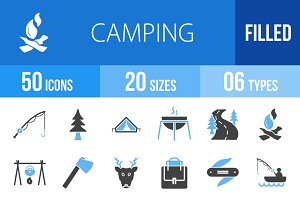 50 Camping Blue & Black Icons