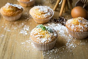 Homemade muffins with star anise