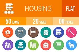 50 Housing Flat Round Icons