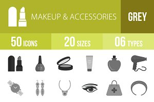 50 Makeup&Accessories Greyscale Icon