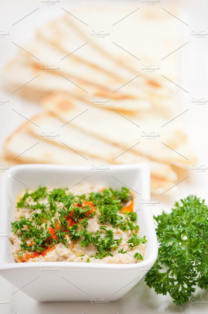 Baba Ghanoush eggplant dip and pita bread 05.jpg - Food & Drink