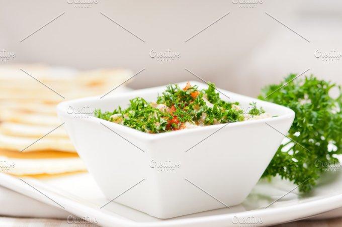 Baba Ghanoush eggplant dip and pita bread 03.jpg - Food & Drink
