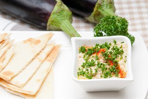Baba Ghanoush eggplant dip and pita bread 11.jpg