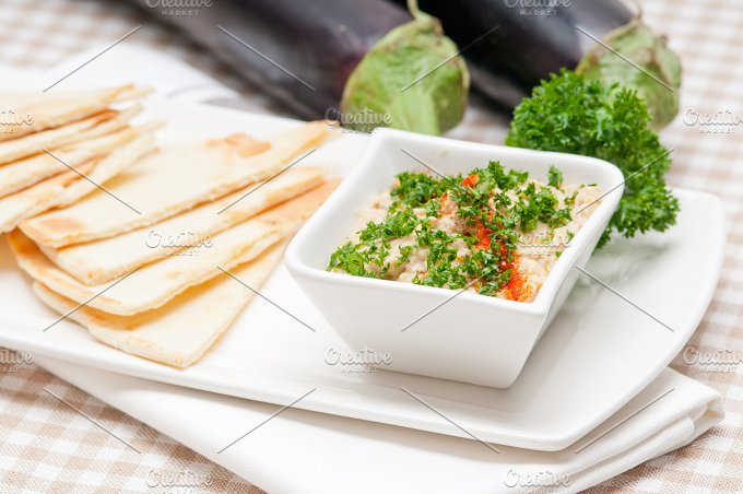 Baba Ghanoush eggplant dip and pita bread 15.jpg - Food & Drink
