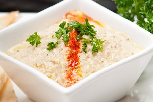 Baba Ghanoush eggplant dip and pita bread 25.jpg