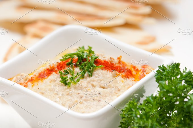 Baba Ghanoush eggplant dip and pita bread 26.jpg - Food & Drink