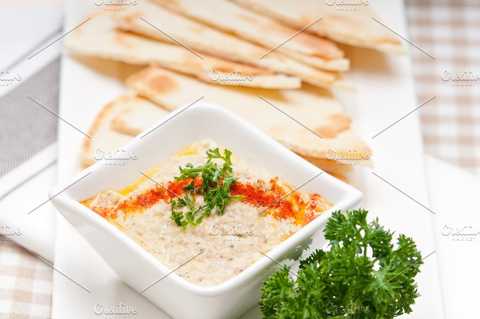 Baba Ghanoush eggplant dip and pita bread 27.jpg - Food & Drink