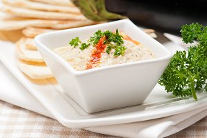 Baba Ghanoush eggplant dip and pita bread 31.jpg