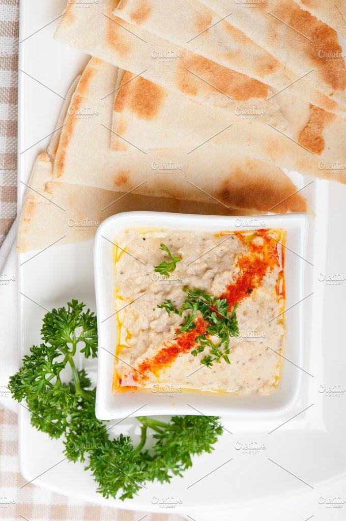Baba Ghanoush eggplant dip and pita bread 35.jpg - Food & Drink