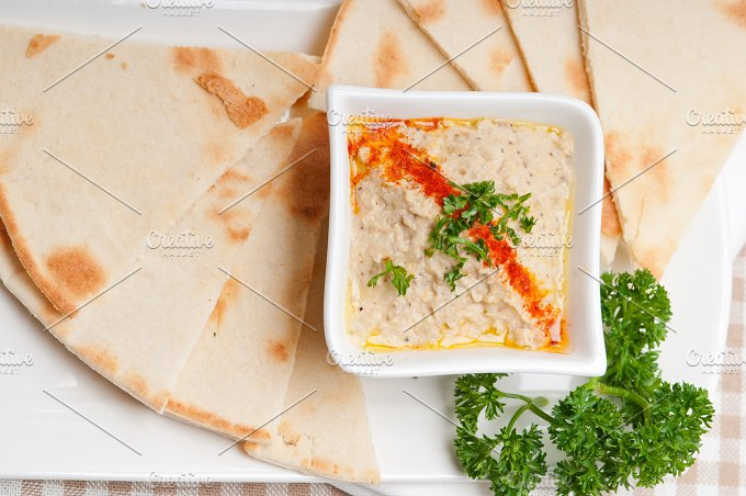 Baba Ghanoush eggplant dip and pita bread 36.jpg - Food & Drink