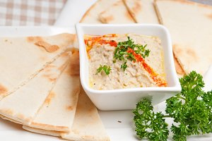 Baba Ghanoush eggplant dip and pita bread 37.jpg