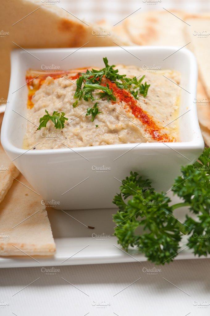 Baba Ghanoush eggplant dip and pita bread 44.jpg - Food & Drink