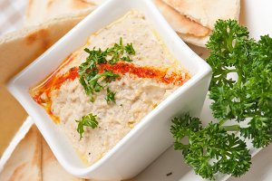 Baba Ghanoush eggplant dip and pita bread 46.jpg