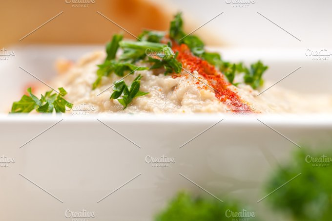 Baba Ghanoush eggplant dip and pita bread 47.jpg - Food & Drink