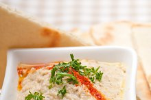 Baba Ghanoush eggplant dip and pita bread 49.jpg