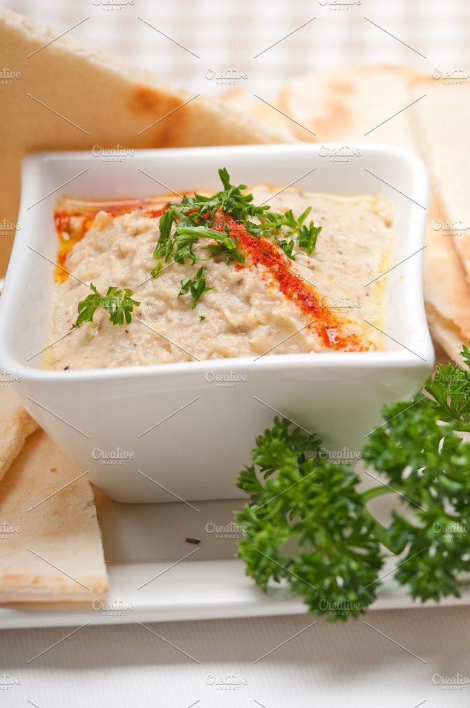 Baba Ghanoush eggplant dip and pita bread 49.jpg - Food & Drink