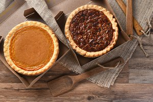 Pumpkin and Pecan Pies in Bakery Box