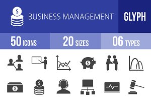 50 Business Management Glyph Icons