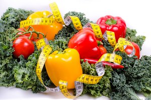 Vegetables and tape, Diet concept
