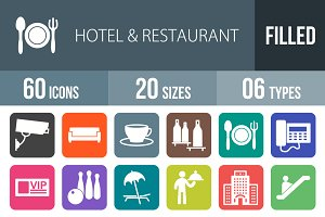 60 Hotel Flat Round Corner Icons