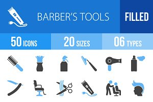 50 Barber's Tools Blue & Black Icons