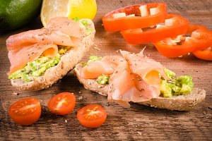 Avocado sandwich with salmon