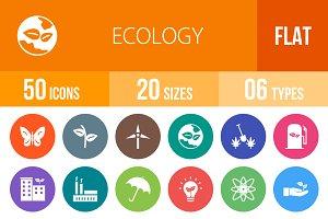 50 Ecology Flat Round Icons