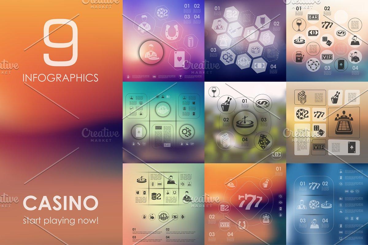 9 casino infographics + BONUS in Presentation Templates - product preview 8