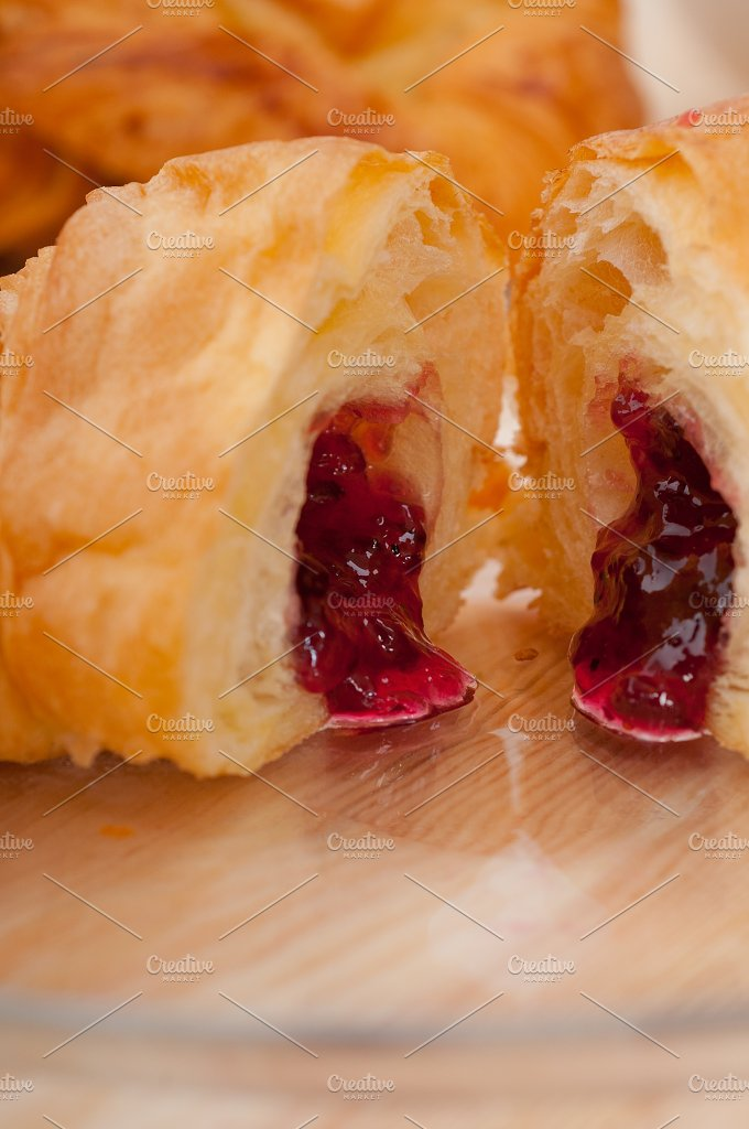 croissant french brioche filled with berries jam 01.jpg - Food & Drink