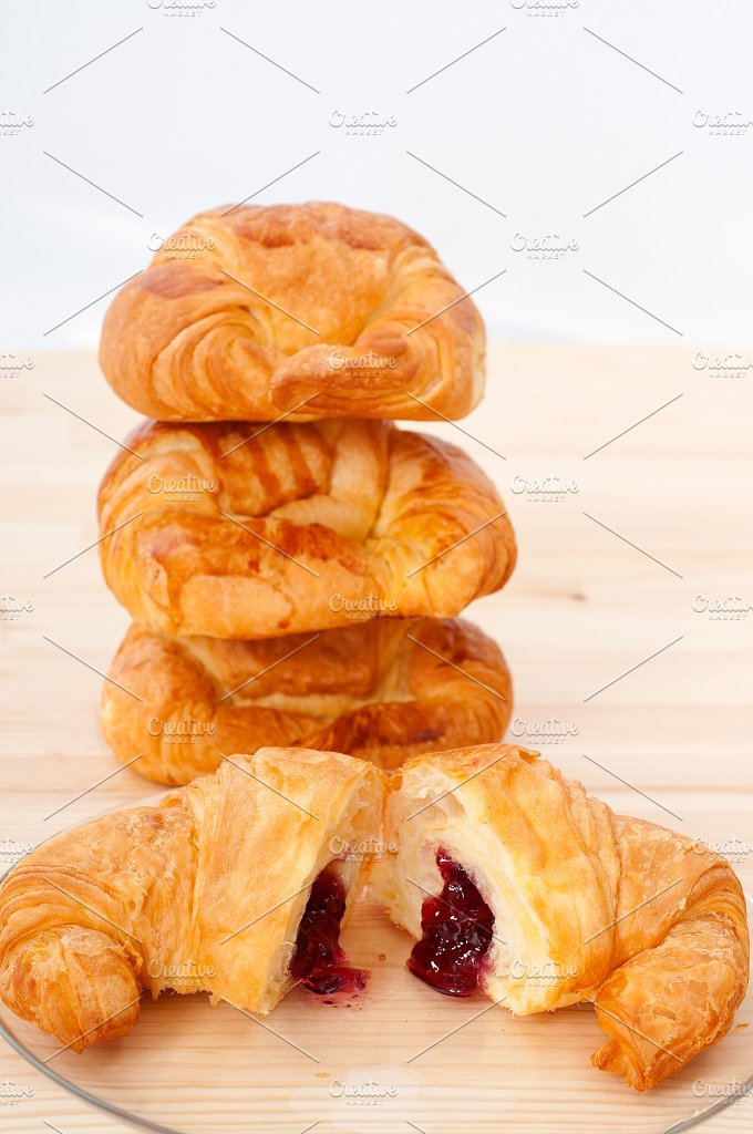 croissant french brioche filled with berries jam 23.jpg - Food & Drink