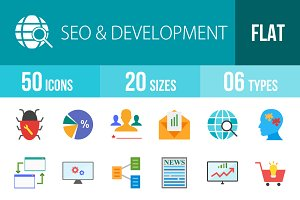 50 SEO Flat Multicolor Icons